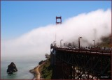A  partial view of the the Golden Gate Bridge