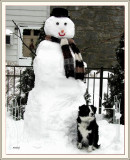 Snow man and photo of Hanna  by Kimberly my daughter
