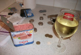 My first week of work, no paycheck yet.  Wine and canned pork!