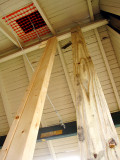 Temporary posts hold up the canopy.