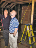 Ned and Bruce looking at some of the ceiling and rafters