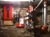 In the basement, pipes & controls for the fire suppression system