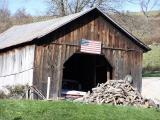barn with flag