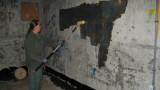 Applying Taginator brand graffiti cleaner