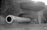 Btry Townsley gun no, 1 Feb 1942. Camouflage pattern clearly visible on vertical surfaces but underside of canopy appears solid.