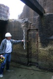 Measuring the recess in side wall for sluice gate 1