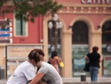 Embracing in the square