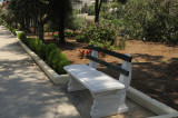 The cool bench in the flower garden