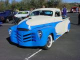 blue and whitecustom pickup truck