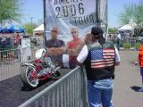 custom chopper and flag
