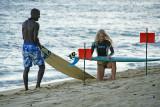 Ka'alawai Beach surfers getting ready for an evening ride