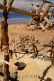 Pulleys ropes and buckets at Khettara well in the arid Tafilalt basin of Morocco