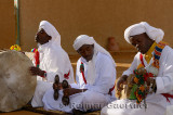 Eyes closed Gnawa musicians in trance with tbel hajhuj and krakeb in Khemliya Morocco