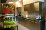 Mobile e top cucina su misura  arredo acciaio inox satinato e legno
