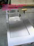 Sgocciolatorio inox su misura saldato a vasca modificata su piano cucina