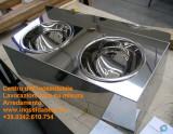 Lavamani doppio lucido su misura inox con vasche semisfera
