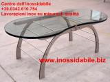 Lavorazione inox su misura tavolino in lastra con cristallo arredo design