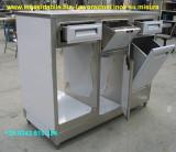 Mobiletto per macchina caffe in acciaio inox su misura con cassetti e tramogge rifiuti