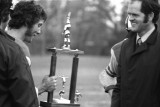 Don McInally and L Foster Hutton with Football Trophy