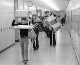 Taking desks to the Auditorium for Exam week