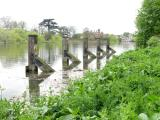 Mooring pilings at downstream entrance to lock.