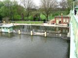 View from footpath of flooded lock.
