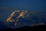 Annapurnas in the light of setting sun