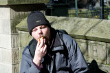 Robban eating hot dog