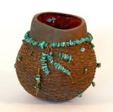 Turquoise & Rust Pot