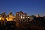 Roma. Foro Romano view at night from Campidoglio