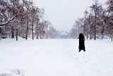 7.  A lone visitor crosses the Palace Green, the palace visible in the background.