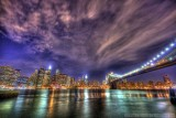 New York City skyline and Brooklyn Bridge in HDR