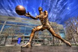 John Stockton statue with Energy Solutions Arena in HDR