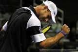 Andy Roddick celebrates his first-round win in the 2009 SAP Open
