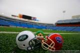NFL Huddles: NY Jets huddles figure at Ralph Wilson Stadium in Orchard Park, NY