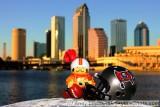NFL Huddles: Tampa Bay Buccaneers huddles figure in downtown Tampa, FL