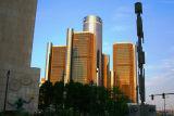 Spirit of Detroit statue with Rennaissance Center