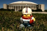 NFL Huddles: Houston Oilers figure in front of the AstroDome in Houston, Texas