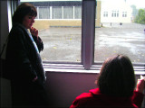 2nd flr of our school bldg looking out over roof of our old gym. Denise and Barb