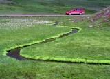 Red Car. Snake Shaped Creek- Cotton Grass