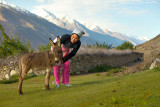 Nassiba and baby donkey - Vichkut, Pamirs