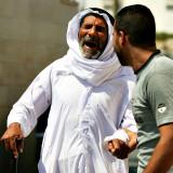 Blind Palestinian villager during protest - Bil'in