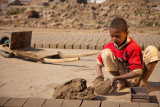 Child laborer making bricks - Lahore