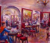 Caffé Greco, la donna con la sciarpa arancio, by Stellario Baccellieri 2009