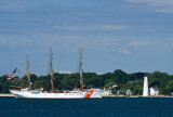 New London Harbor Light and USCGC Eagle
