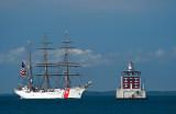 New London Ledge Light and USCGC Eagle