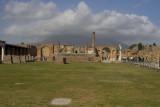 Pompeii  Forum with Mt. Vesuvius in the Clouds