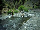Wading a riverbed
