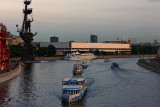 Sunset in Moscow... pleasure boats by Moscow river...