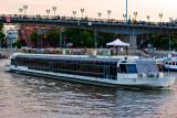 Sunset in Moscow... pleasure boat by Moscow river...